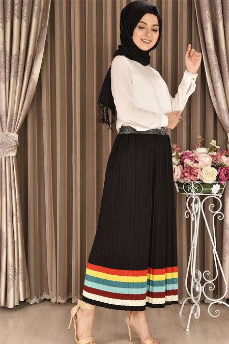 Modamerve Siyah Beli Simli Çizgili Piliseli Etek