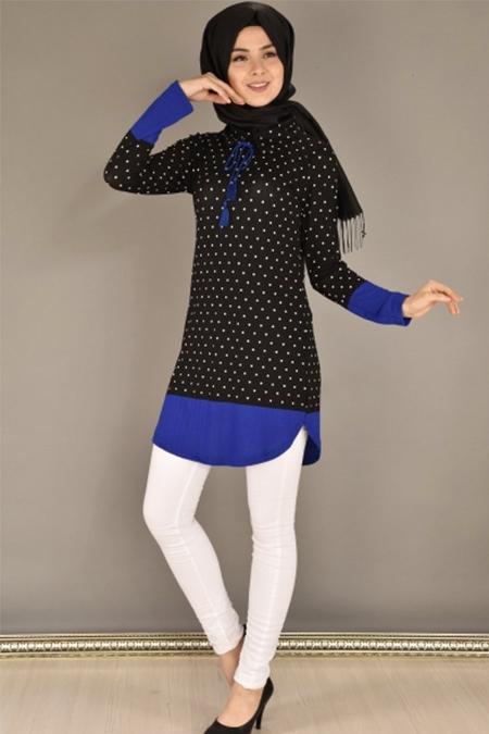 Modamerve Siyah Saks Puanlı Tunik
