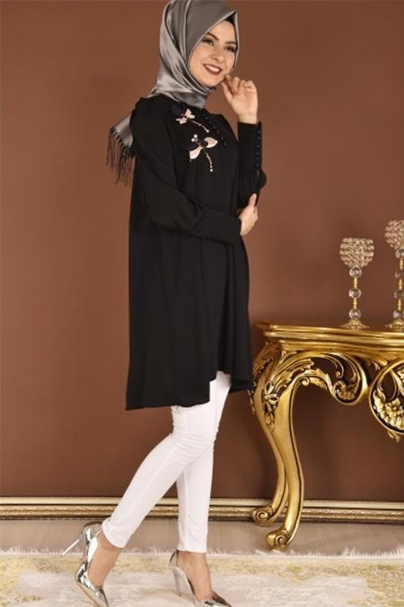 Modamerve Siyah Süs Düğmeli Tunik
