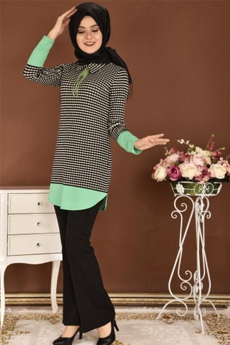 Modamerve Siyah Yeşil Kareli Tunik