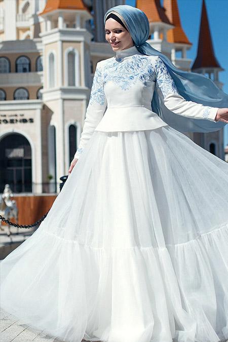 Muslima Wear Ekru Sky Flower Bluz