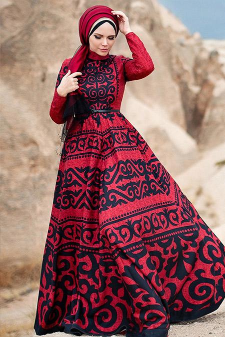 Muslima Wear Kırmızı Anar Abiye Elbise