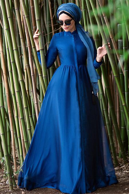 Muslima Wear Mavi French Chiffon Abiye Elbise