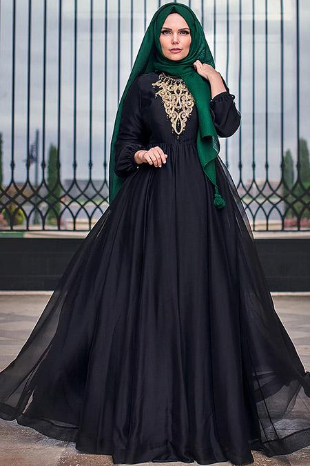 Muslima Wear Siyah French Chiffon Abiye Elbise
