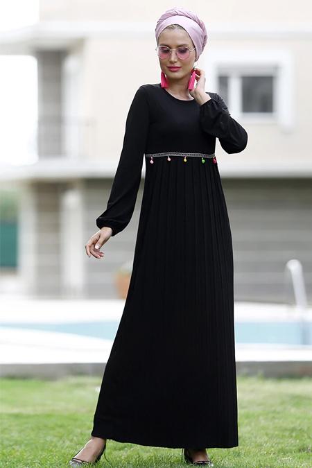 Myzen Siyah Bel İşlemeli Pilise Elbise