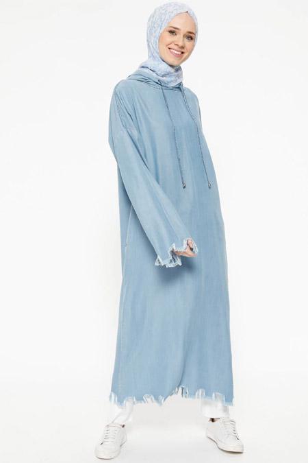 Neways Açık Mavi Kapüşonlu Tensel Tunik