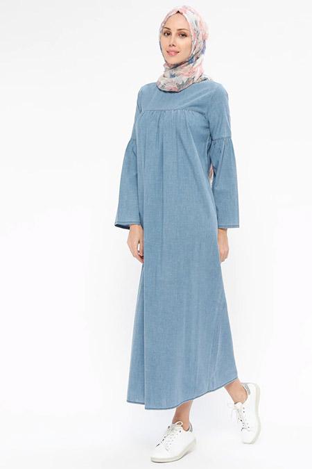 Neways Mavi Kot Elbise