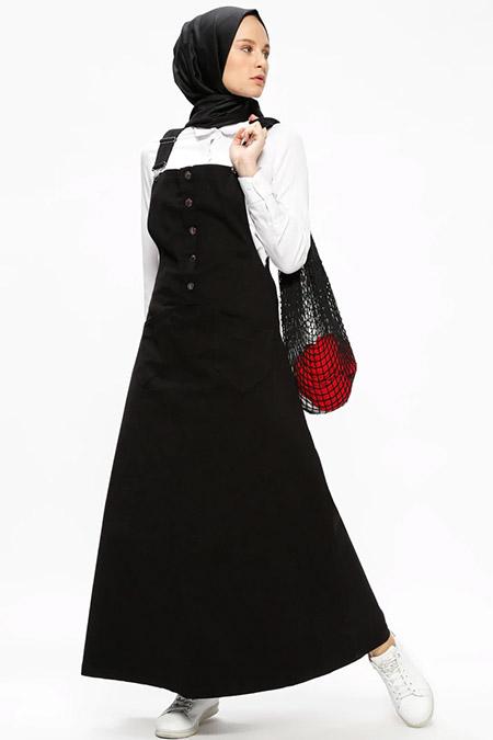 Neways Siyah Salopet Elbise