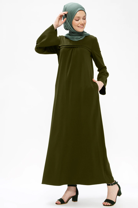 Neways Yeşil Cep Detaylı Elbise