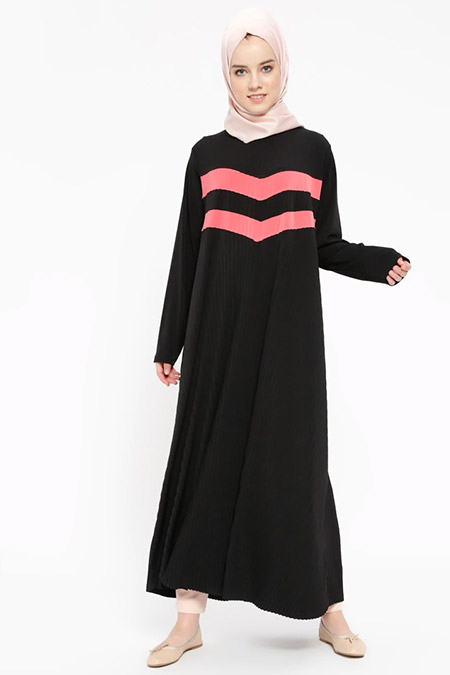 Nupel Siyah Garnili Uzun Tunik