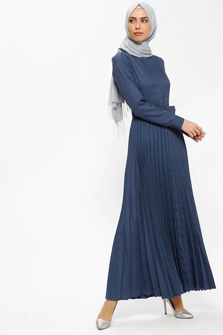 Puane İndigo Kemerli Elbise