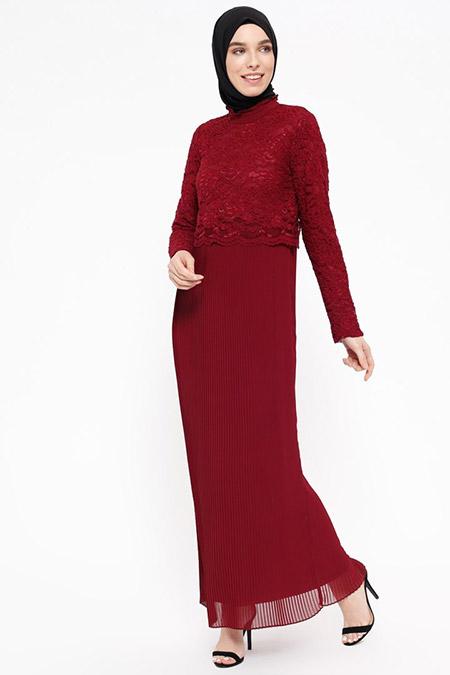 Puane Bordo Dantel Detaylı Piliseli Elbise