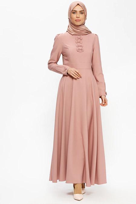 Puane Gül Kurusu Fiyonk Detaylı Elbise