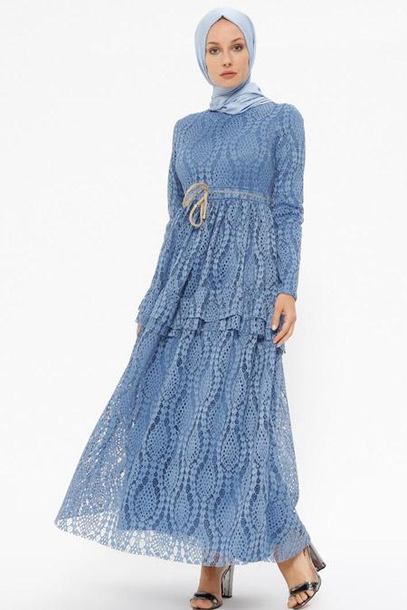 Puane İndigo Dantelli Elbise