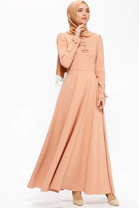 Puane Soğan Kabuğu Fiyonk Detaylı Elbise