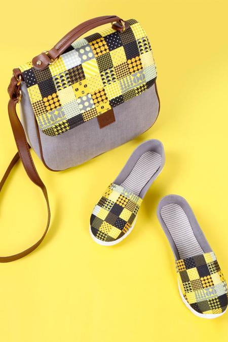 Puantiye Kare Desenli Gri Çapraz Çanta ve Ayakkabı Set