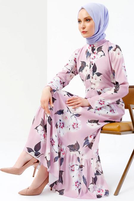 Refka Lila Çiçekli Elbise