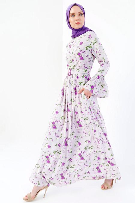 Refka Lila Doğal Kumaşlı Floral Desenli Elbise