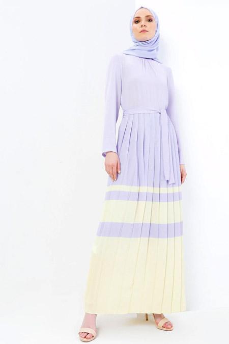 Refka Lila Pileli Elbise