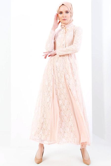 Refka Pudra Dantelli Elbise