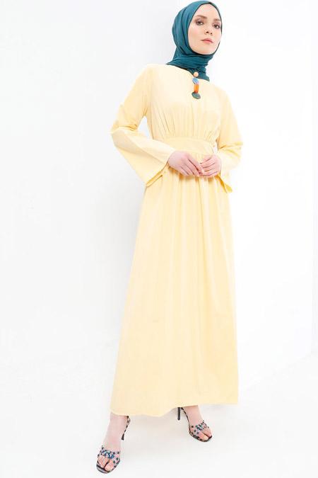 Refka Sarı Geniş Kollu Elbise