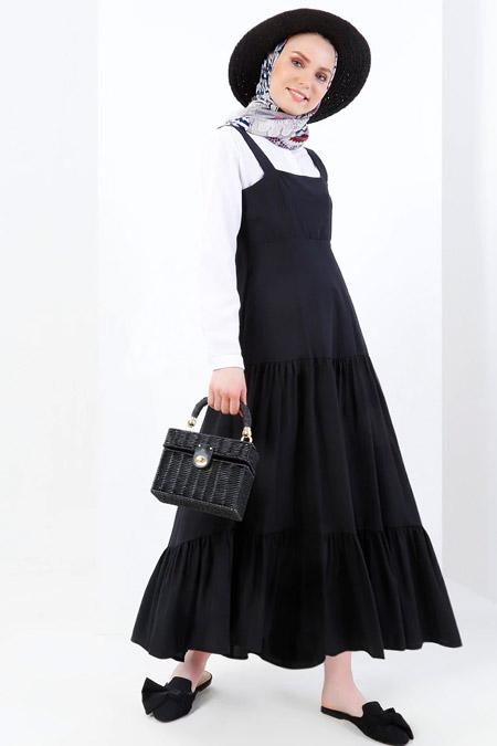 Refka Siyah Ekru Volanlı Elbise
