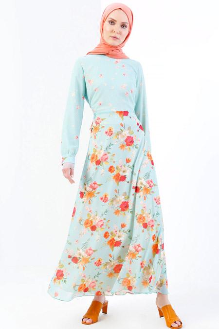 Refka Yeşil Floral Desenli Elbise