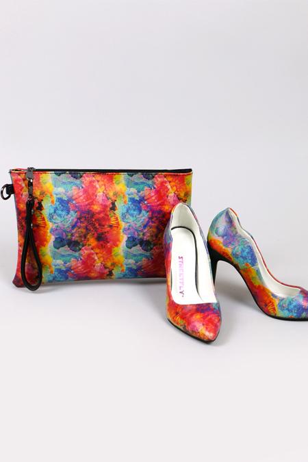 Renkli Şeritli Stiletto ve El Çantası Set