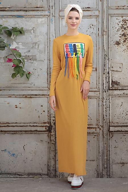 Selma Sarı Design Hardal Büzgülü Elbise