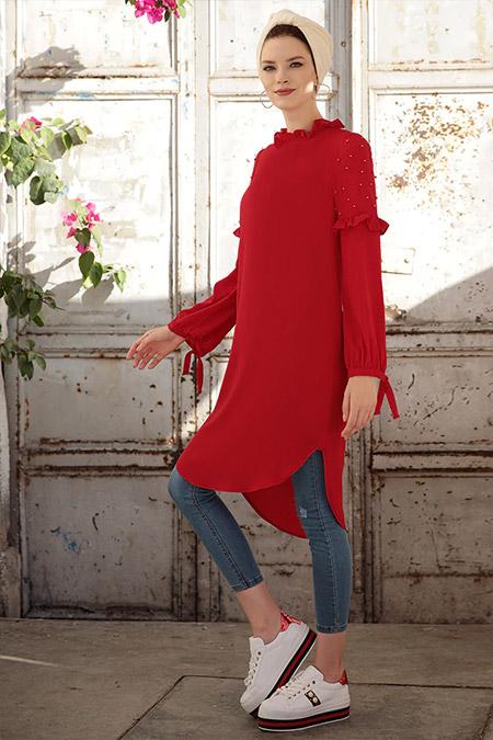 Selma Sarı Design Kırmızı İnci Tunik