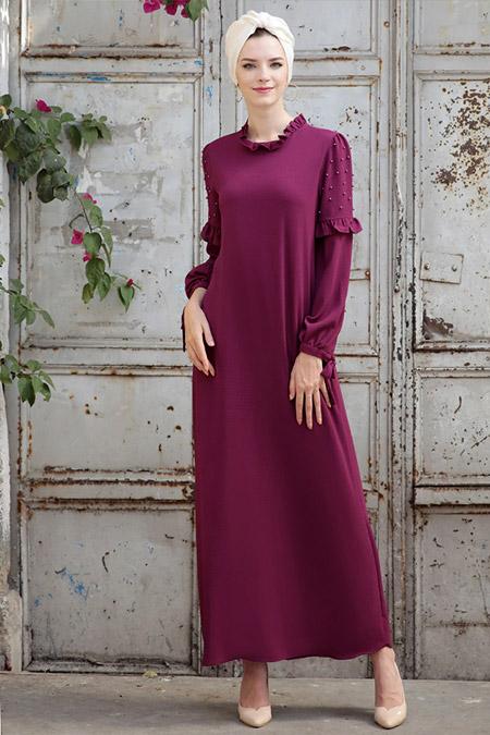 Selma Sarı Design Mürdüm Kolları İncili Elbise