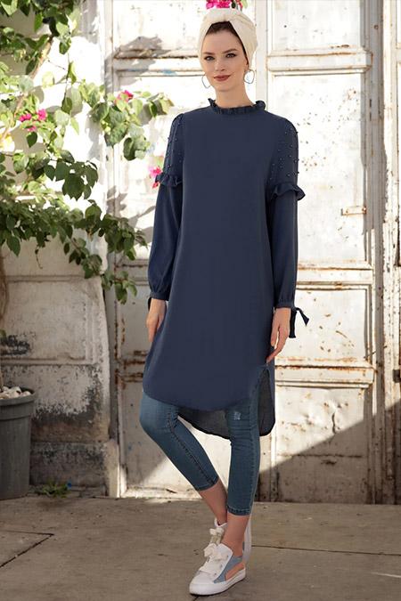 Selma Sarı Design Mavi İnci Tunik