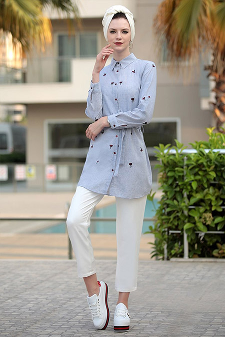 Selma Sarı Design Mavi Kiraz Tunik
