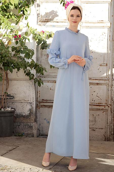 Selma Sarı Design Mavi Kolları İncili Elbise
