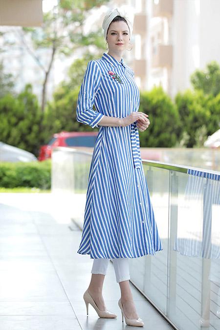 Selma Sarı Design Mavi Spor Gömlek Elbise