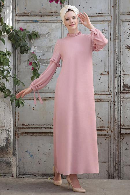 Selma Sarı Design Pudra Kolları İncili Elbise