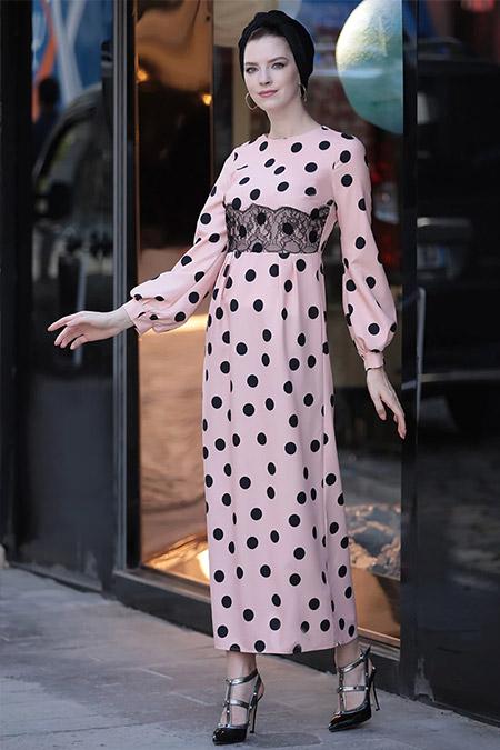 Selma Sarı Design Pudra Puantiyeli Elbise