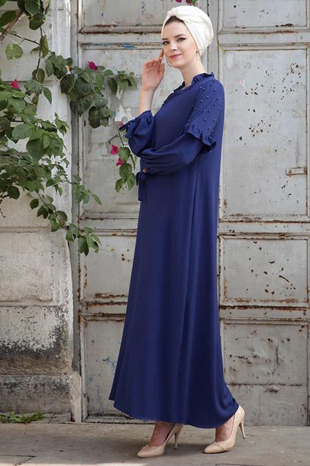Selma Sarı Design Saks Kolları İncili Elbise