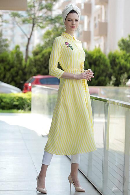 Selma Sarı Design Sarı Spor Gömlek Elbise