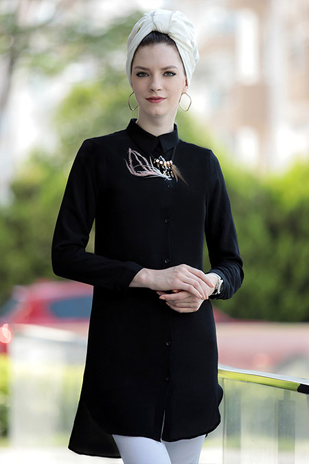 Selma Sarı Design Siyah Freş Tunik