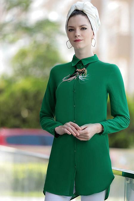Selma Sarı Design Yeşil Freş Tunik