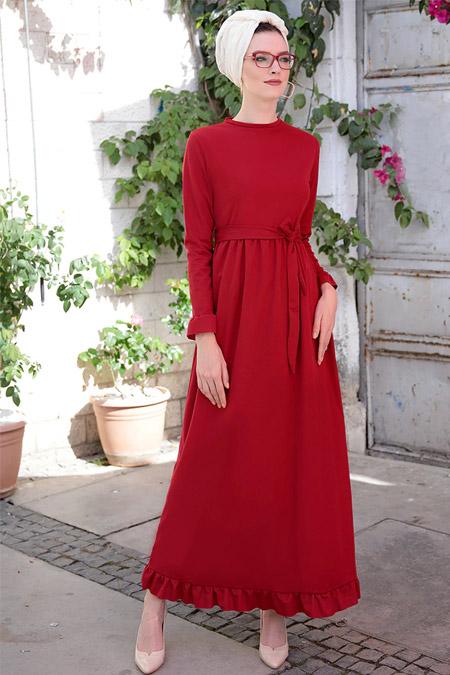 Selma Sarı Design Bordo Mira Fırfırlı Elbise