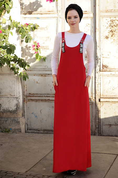 Selma Sarı Design Bordo Salopet Elbise