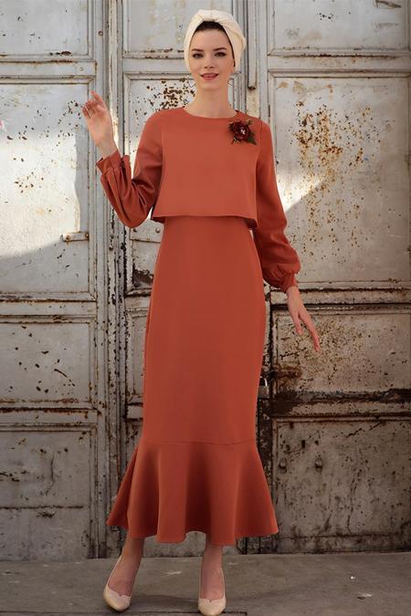 Selma Sarı Design Kiremit Viole Elbise