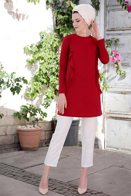 Selma Sarı Design Kırmızı Basic Tunik