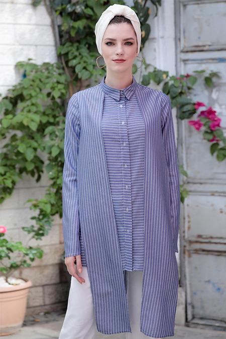 Selma Sarı Design Mavi Çizgili Diagra Tunik