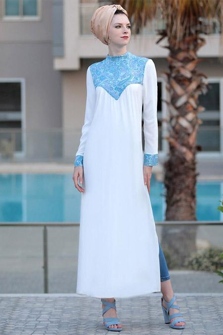 Selma Sarı Design Mavi Sırma Yırtmaçlı Tunik