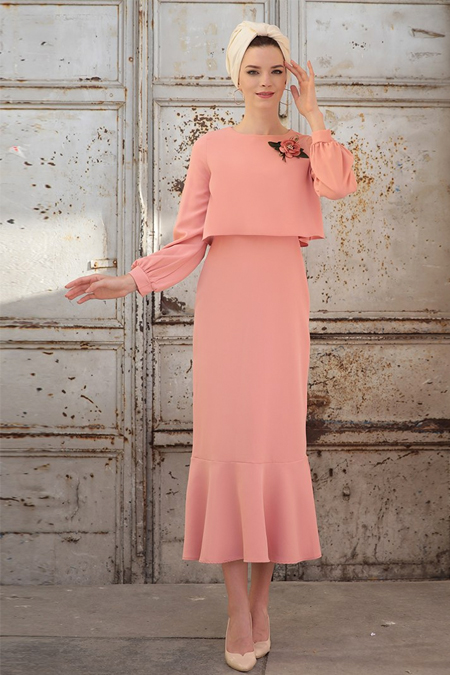 Selma Sarı Design Pudra Viole Elbise