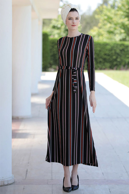 Selma Sarı Design Siyah Lale Elbise