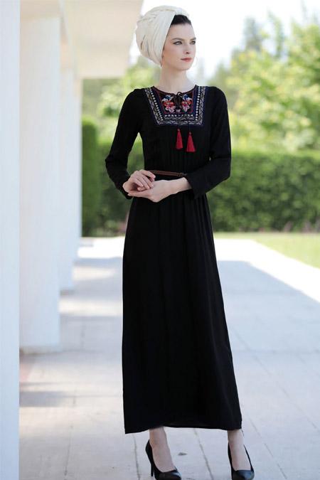 Selma Sarı Design Siyah Nakışlı Elbise